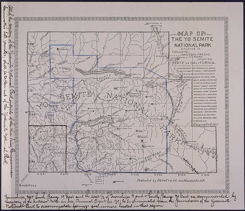 Petition and Map from John Muir and other founders of Sierra Club protesting a bill to reduce the size of Yosemite National Park
