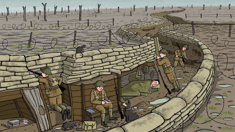 WW1 Trench cartoon