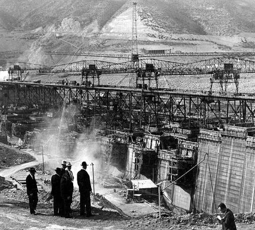 Officials viewing Grand Coulee Dam site, October 14, 1937