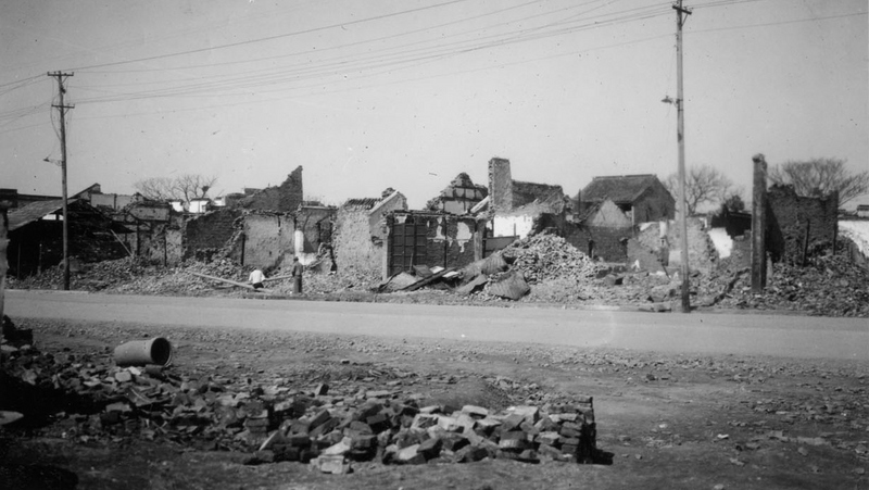 War damage in the southern section of Nanking where most of the fighting in connection with the fall of the city took place. Picture taken March 17, 1938