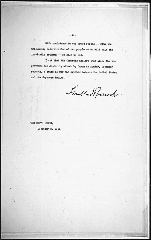Roosevelt Day of Infamy Speech
