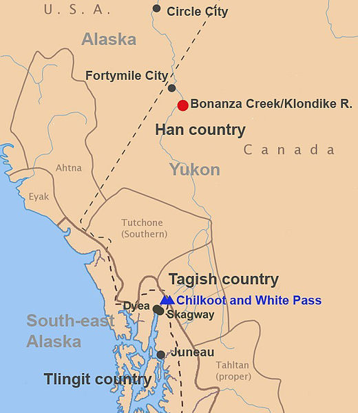 General location of where the people migrated to mine the Yukon