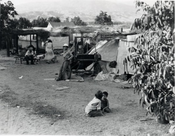 Homeless shantytown known as Hooverville, foot of S. Atlantic St, ca. 1937<br />