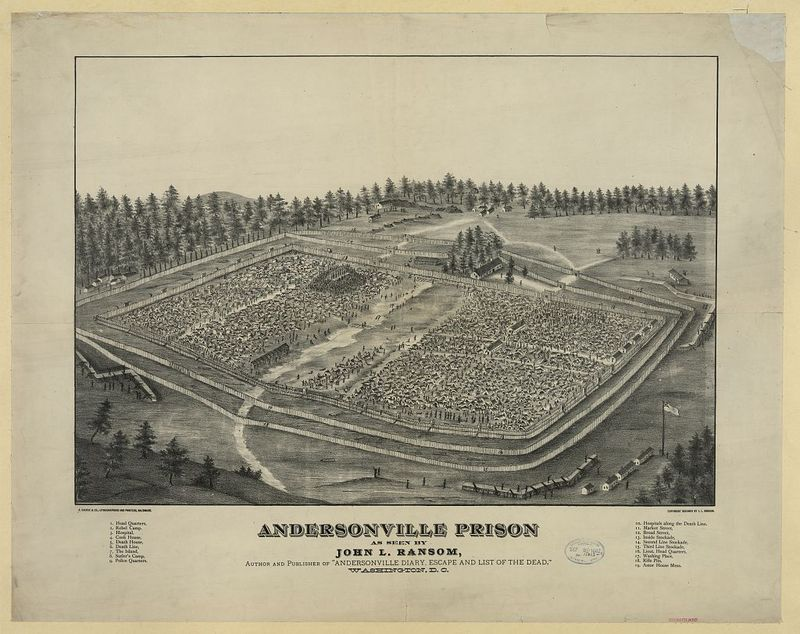 """Andersonville Prison as seen by John L. Ransom, author and publisher of """"Andersonville diary, escape and list of the dead,"""" Washington, D.C. / A. Sachse & Co. Lithographers & Printers, Baltimore."""