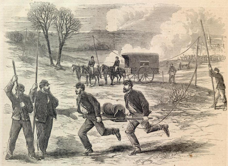 The Army Telegraph—Setting Up The Wire During an Action.—[Sketched by Mr. A. R. Waud.]