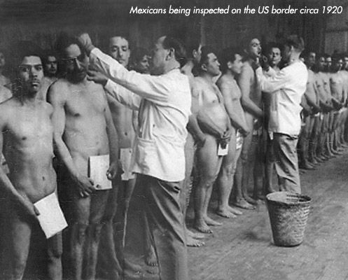 Mexicans being checked for lice at California depot, 1920s