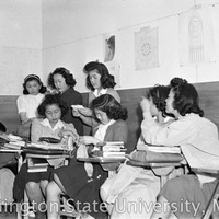 Girls League Representatives Hi-Y meeting in a Heart Mountain High School classroom, 1944.
