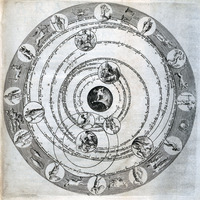 Chart depicting geocentric universe