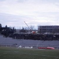 Fire in Rogers Field stands