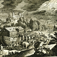 Engraving of Noah's Ark with unicorns